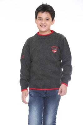 Superkids Solid Round Neck Casual Boy's Grey Sweater