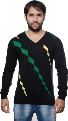AMX Argyle V-neck Casual Men's Black, Dark Green, Yellow Sweater