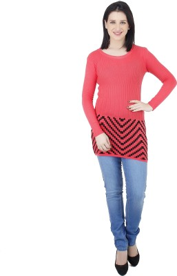 Camey Striped Round Neck Casual Women's Grey Sweater