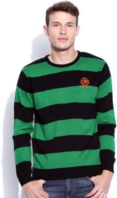 Harvard Striped Round Neck Men's Green Sweater