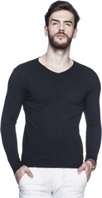 Tinted Solid V-neck Men's Black Sweater