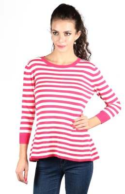 Again Striped Round Neck Casual Women's Pink Sweater