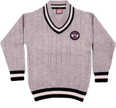 Kidax Self Design V-neck Casual, Festive, Party Boy's Grey Sweater