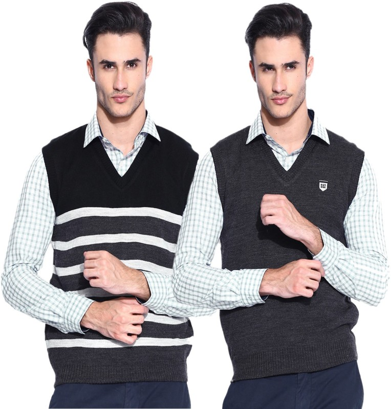 Sports 52 Wear Striped V-neck Casual Men Reversible Black Sweater