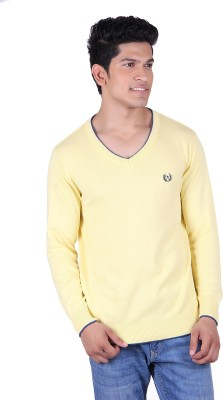 Ogarti Solid V-neck Casual Men's Yellow Sweater