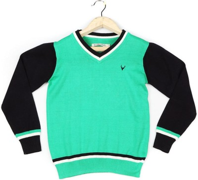 Allen Solly Self Design V-neck Boy's Green Sweater
