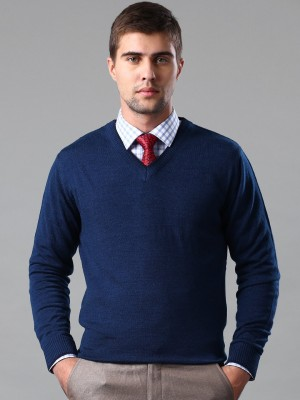 Invictus Self Design V-neck Casual Men,s Blue Sweater