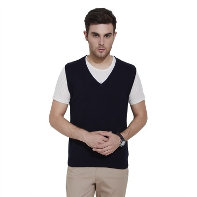 Urban Nomad By INMARK Solid V-neck Casual Men's Dark Blue Sweater