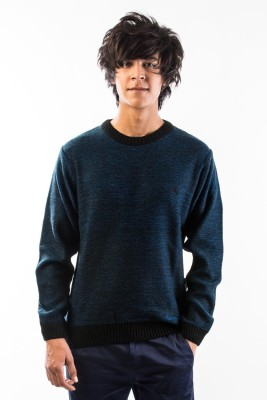 Srota Solid Round Neck Casual Men's Blue Sweater