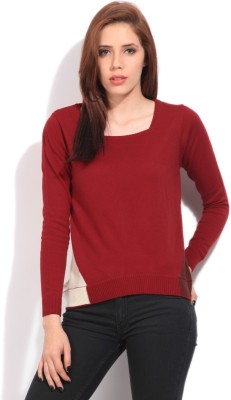 Arrow Solid Casual Women's Red Sweater
