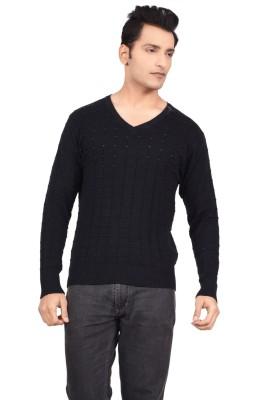 Hoffmen Solid V-neck Men's Black Sweater