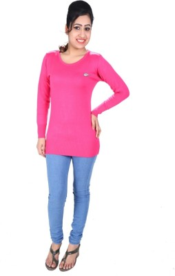 SLS Solid Round Neck Casual Women's Pink Sweater