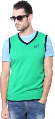 University of Oxford Solid V-neck Men's Green Sweater