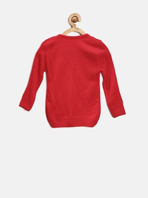 Yellow Kite Solid Round Neck Casual Girl's Red Sweater