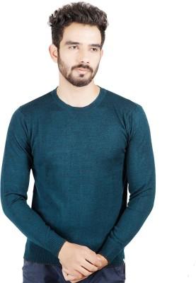 Numero Uno Solid Round Neck Casual Men's Dark Green Sweater