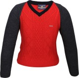 Duke Solid V-neck Casual Women Red Sweat...