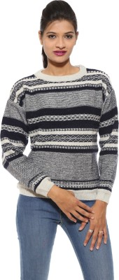 Pepe Striped Round Neck Casual Women's Blue Sweater