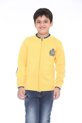 Superkids Solid Round Neck Casual Boy's Yellow Sweater