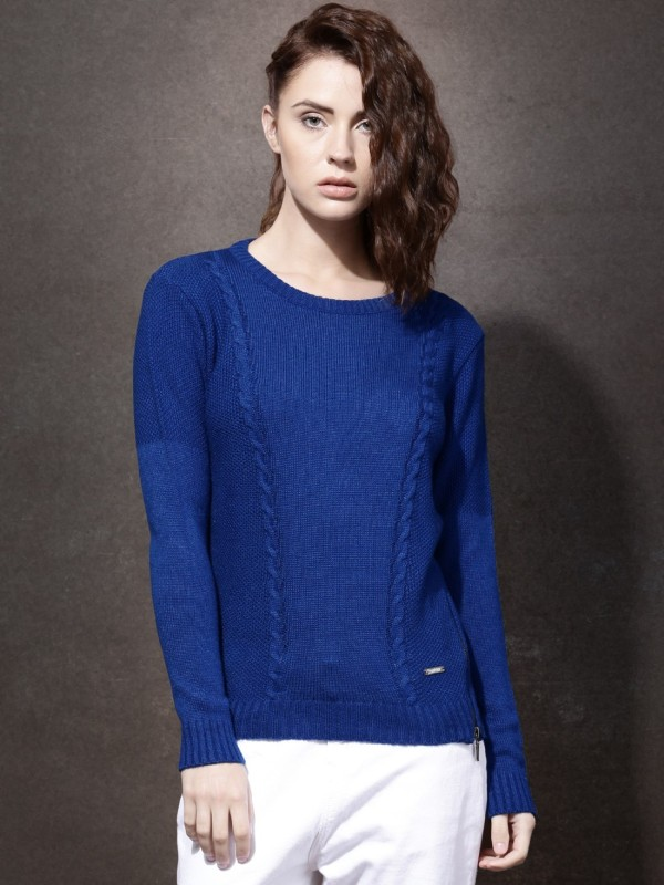 Roadster Self Design Round Neck Casual Women Blue Sweater