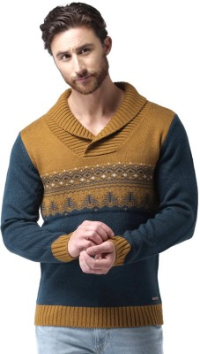 Mast & Harbour Self Design Round Neck Casual Mens Dark Blue, Brown Sweater