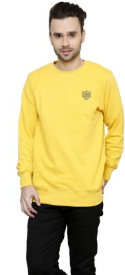 Riverstone Solid Round Neck Casual Men,s Yellow Sweater