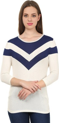 United Colors of Benetton Solid Round Neck Casual Women's White, Blue Sweater