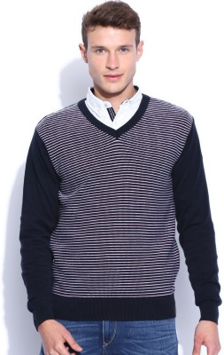 Harvard Striped V-neck Men's Dark Blue Sweater