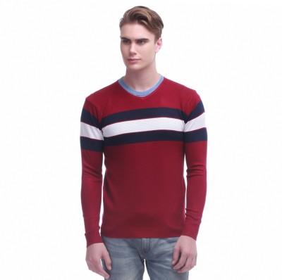 Jogur Self Design V-neck Men's Red Sweater