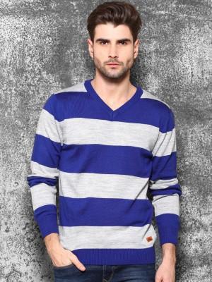 WROGN Striped V-neck Casual Men's Blue Sweater
