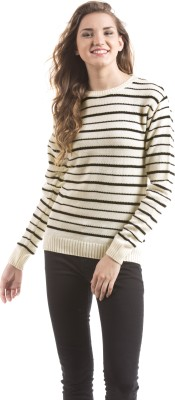 Shuffle Striped Round Neck Casual Women's Black Sweater