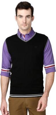 Van Heusen Woven V-neck Casual Men's Black Sweater
