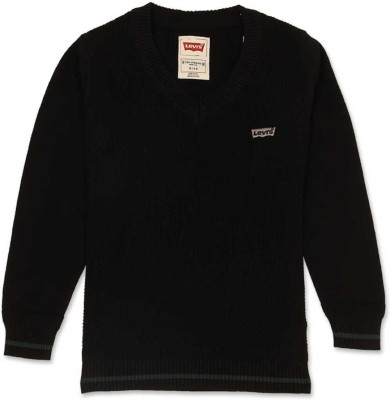 Levi's Solid V-neck Casual Girl's Black Sweater