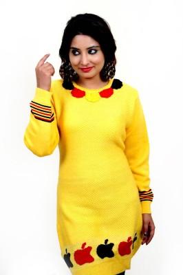 Laadli Ji Woven Round Neck Women,s Yellow Sweater