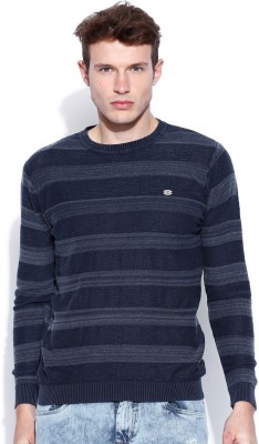 Roadster Self Design Round Neck Casual Men's Blue Sweater