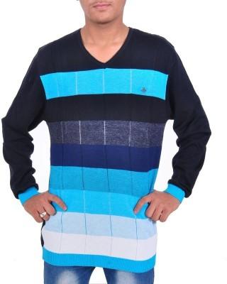 SCC SN Striped V-neck Casual Men's Blue Sweater