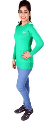 SLS Solid Round Neck Casual Women's Green Sweater