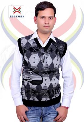 BOOKMAN Printed V-neck Formal Men's Grey Sweater