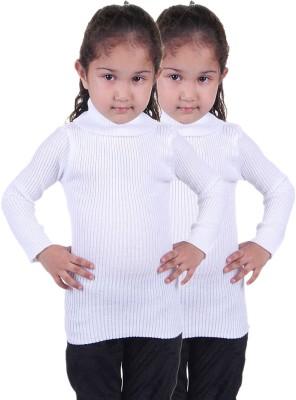 Lienz Striped Turtle Neck Casual Girls White Sweater