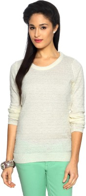 Allen Solly Woven Round Neck Casual Women's White Sweater