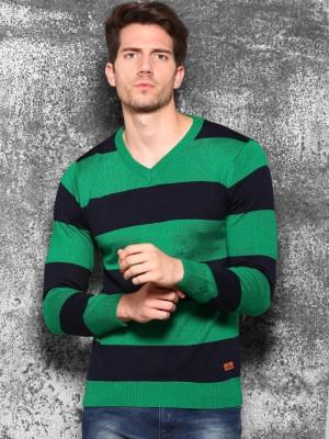 WROGN Striped V-neck Casual Men's Green Sweater