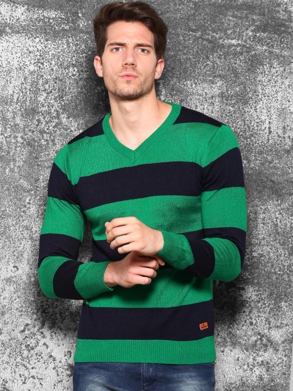 WROGN Striped V-neck Casual Men Green Sweater