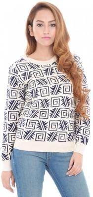 ESTANCE Geometric Print Round Neck Casual Women's White Sweater