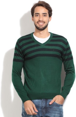 John Players Striped V-neck Casual Men's Green Sweater