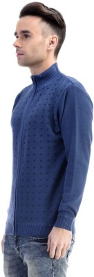 CLUB AVIS USA Printed Turtle Neck Casual Men's Dark Blue Sweater