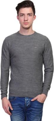 TSAVO Self Design Round Neck Casual Men's Grey Sweater