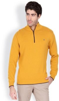 Blackberrys Solid Round Neck Men's Yellow Sweater