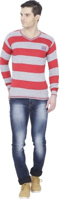 Alay Striped V-neck Casual Men's Yellow Sweater