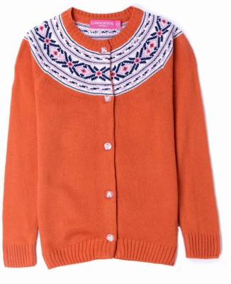 London Fog Solid Round Neck Casual Girl's Orange Sweater