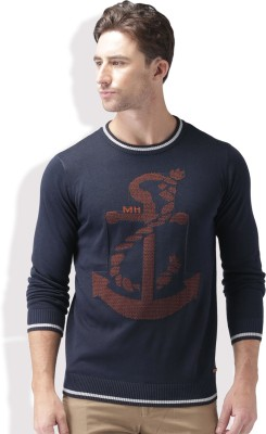 Mast & Harbour Self Design Round Neck Casual Men Dark Blue Sweater