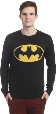DC Comic Printed Round Neck Casual Men's Black Sweater